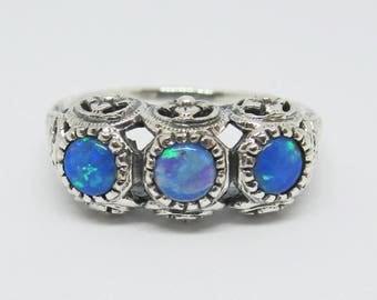 Blue Fire Opal Filigree Wedding Band Ring Sterling Silver Size 6/ Antique Vintage Edwardian Art Deco Floral