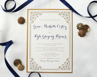 Two Layer Gold and Navy Romantic Formal Elegant Wedding Invitation with Envelope and RSVP - Multiple Color Options Available!
