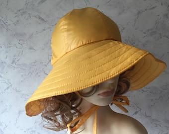 Edward Mann Rare & Original Authentic Vintage Sunny Yellow Rain Hat * Unworn