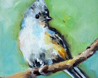 Original Impressionist Oil Painting, Titmouse Bird Painting, Bird Portrait 6x6 Inch