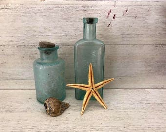 Antique Bottles for Mermaid, Shark Week, Beach Themed Party. Bottle Collectors C1890s National Remedy Co. 1 Cylinder Shape with Stone Top.