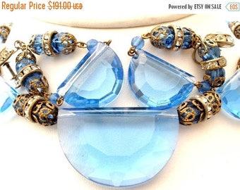 Sale Blue Glass Necklace Earrings Set Half Moon Glass Rondelles