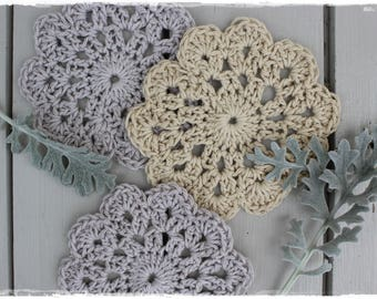 3 coasters grey crocheted beige retro hand made glass coasters various colors