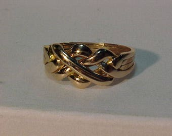 Puzzle ring 4 bands(soldered)10k yellow gold-professionally polished--size 7