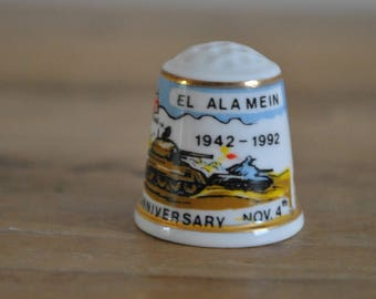 Vintage thimble - China - Derby - 50th Anniversary El Alamein 1942-1992