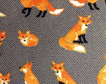 One Half Yard of Fabric Material - Fox on Gray Herringbone
