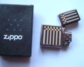 Vintage ZIPPO Lighter with an Original Box/ Genuine Brushed Chrome ZIPPO lighter/ 1990s