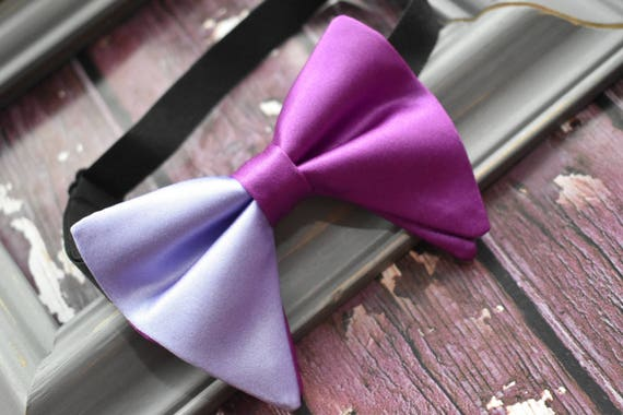 Kids purple and lilac satin floppy / butterfly bow tie  for Baby, Toddlers and Boys (Kids Bow Ties) with Braces/ Suspender