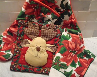 Vintage Holiday Kitchen Accessories Set: Towel, Oven & Pot Holders - (4) Pieces