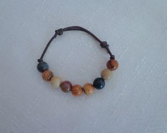 Unisex Hemp Bead Bracelet,Natural Agate Bracelet,Adjustable Bead Bracelet for Men #AG01