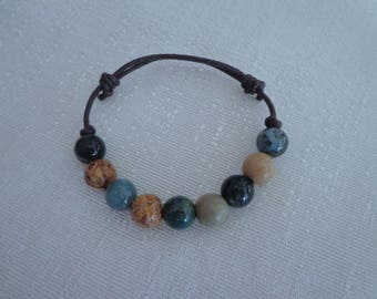 Unisex Hemp Bead Bracelet,Natural Agate Bracelet,Adjustable Bead Bracelet for Men #AG04
