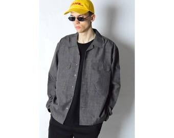 Vintage 90s Gray Minimalist Lightweight Shirt Jacket Size L XL