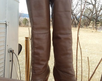 "Dingo Vintage Brown Leather Western Boots 3"" Heel Logo Toe Guard Sz. 7B"
