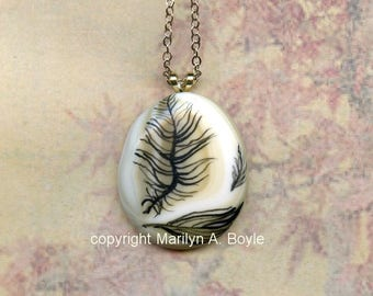 HAND PAINTED PENDANT; fused glass, feathers, original art, wearable art, summer jewelry, 18 inch chain,