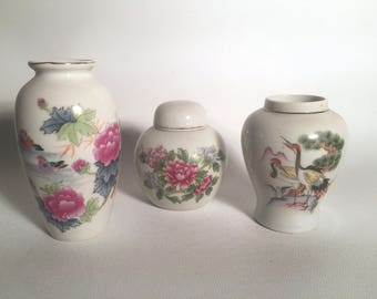 Set of 3 Small Japanese Vases