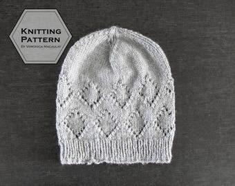 Knitting Pattern |  Winter Beanie Hat with fold-up Brim Knitting Pattern | DIAMOND