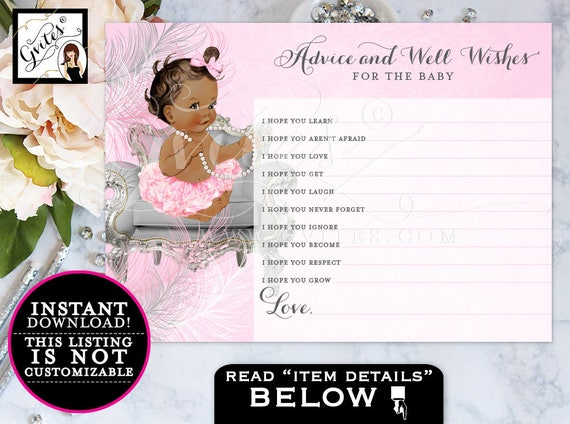 Baby Wishes Princess, African American baby girl advice card, silver and pink, ethnic baby girl, INSTANT Download {MED/BRUNETTE} 5x7 2/Sheet