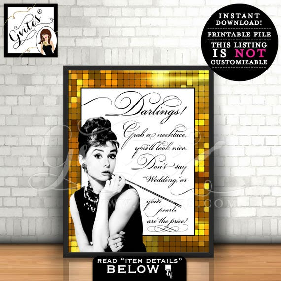 Great Gatsby Sign Audrey Hepburn Pearl Necklace Game Sign - Black white and gold, breakfast at bridal shower games, printable bride co, 8x10
