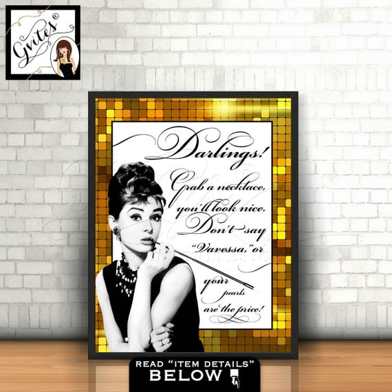 Great Gatsby Sign Audrey Hepburn PERSONALIZED Pearl Necklace Game, Black white and gold, breakfast at bridal shower games, printable, 8x10