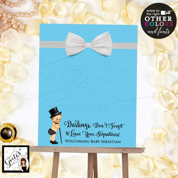 Guest Book Alternative poster sign, customizable baby shower signs, signage,  baby blue please sign our guestbook. Digital File Only!