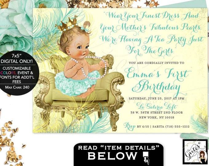 Mint green and yellow birthday, princess baby girl first birthday invitations, gold and mint green, digital file only! 7x5, Gvites.