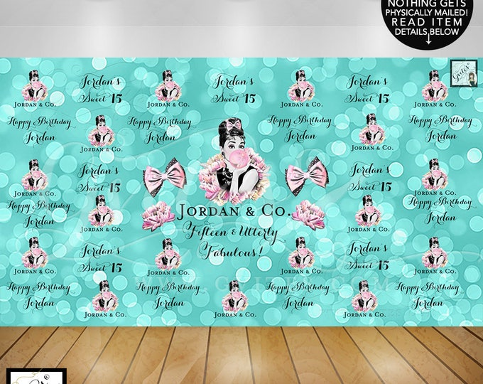 Sweet 15 Step and Repeat Backdrop, quinceanera photo booth backdrops sign, breakfast at blue co birthday, Digital File Only!
