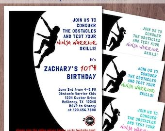 Ninja Warrior Invitation Birthday Party Obstacle Course American Ninja Warrior Party  Warped Wall Invite Kids Ninja Party Boy Girl Parkour