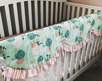 NURSERY BEDDING Summer Blooms - Spoonflower - Crib, Mini Crib, Crib Skirt, Crib Bumpers, Scalloped Rail Cover, Bassinet, Boppy Cover-Mint
