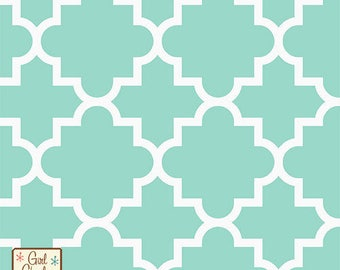 """Fabric Remnant - Quatrefoil Ice Green - Jersey Knit - Girl Charlee - 35""""x35"""""""