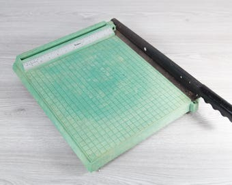 Vintage Green Paper Cutter - 1980's Paper Slicer for Office, Classroom, Home, Craft Room