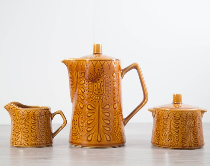Vintage Teapot Set / Boho Earthtone Amber Colored Ceramic Tea Pot, Creamer and Sugar / Made in Japan