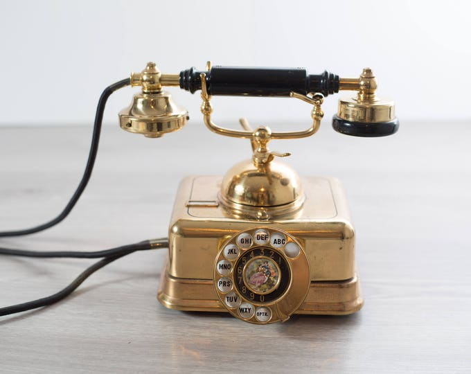 Gold Dial Phone / Vintage Victorian Style 4-prong Telephone
