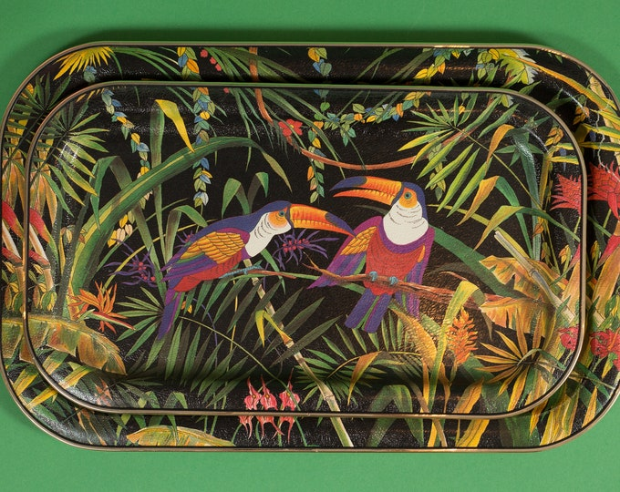 Vintage Jungle Trays - Tropical Toucan Birds in Leafy Green Tropical Forest Setting - Made in Japan Tea Coffee Serving Breakfast in Bed Set