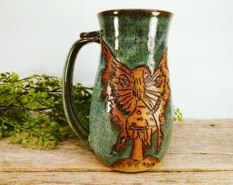 Fairy and Toadstool Stein 28 oz - Fairy Gift Ideas - Large Mug for Coffee - Craft Beer Lovers - Unique Pottery Mugs - Mesiree Ceramics