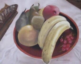 Still life fruit painting in pastel dry banana bread