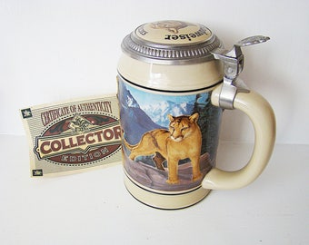 Vintage BUDWEISER BEER Cougar STEIN Anheuser Busch Ceramic Endangered 3D Species Cat Bud