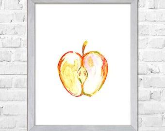 Apple Art, Apple Watercolor Print, Watercolor Fruit Wall Art Print, Kitchen Wall Decor, Fruit Watercolor Painting, Apple Decor