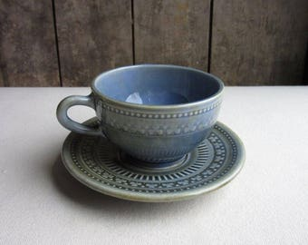 Wade Shamrock Large Coffee Cup and Saucer, Tea, Wade Irish Porcelain Cup and Saucer, Pottery, Ireland, Green Blue, Rare Wade, Kitchen Dishes