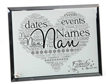 Nan Personalised Word Art Glass Plaque