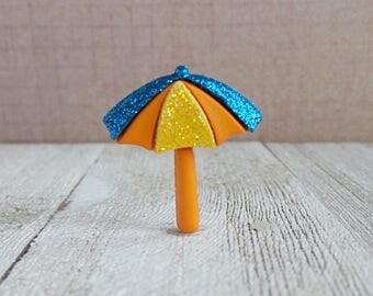Beach Umbrella - Orange - Vacation - Ocean - Lake - Sunshine - Lapel Pin