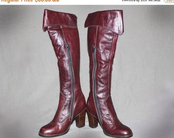 SALE Vintage 60s 70s Knee High Leather Boots / Burgundy Groovy Boots, Boho / Western, Cowgirl Boots / Round Toe / Size us 5, 35 eu, 2.5 uk