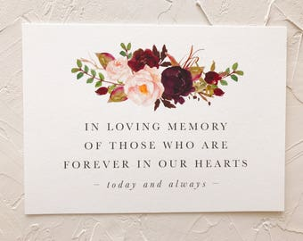 Wedding Memorial Sign | In Loving Memory | Forever In Our Hearts | Printable
