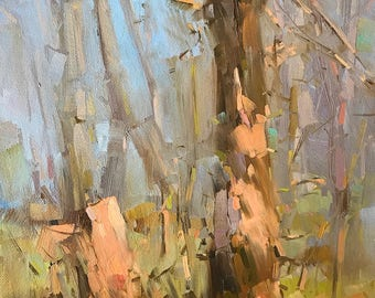 Landscape oil Painting, Birches, One of a kind, Handmade Artwork, Impressionism, Signed with Certificate of Authenticity