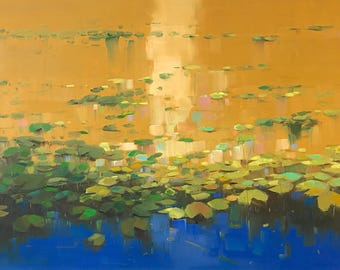 Waterlilies Autumn Palette  oil Painting Original Handmade Artwork Large Size One of a Kind, Ready to Hang