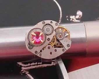 Vintage Rhombus watch movement ring and sparkly Swarovski
