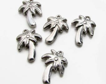 Palm Tree Charm, Stainless Steel Palm Tree - Set of 5 SST Findings 18x13.5x4mm, Tropical Charm, Beach Charm