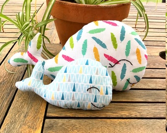 Plush whale and her calf, cuddly cushion deco duo