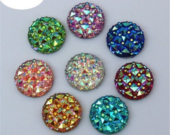 X 10 mix color Cabochons resin 16mm