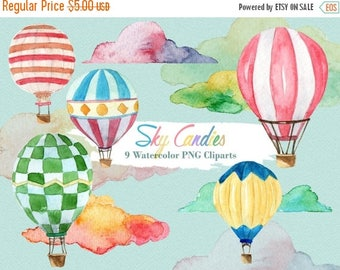 50% Off Hot Air Balloon Clipart Watercolor Cloud Balloon Party Travel Vacation Digital Download Invitation Paint Planner
