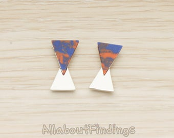 ERG412-R-BO // Glossy Original Rhodium Plated Blue + Orange Earpost, 2 Pc